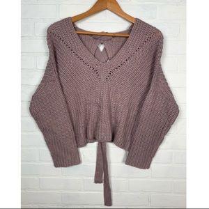 Chunky Knit Oversized Tie Open Back Sweater V-Neck